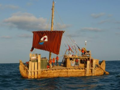 The reed boat embarks on its historic journey